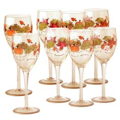 Leaf Luster Wine Glasses, Set of 8