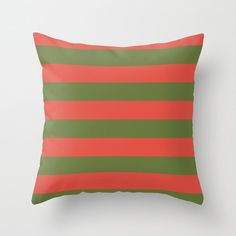 Items similar to Preppy Green and Red Striped Outdoor Pillow Cover on Etsy Outdoor Pillow Covers, Throw Pillow Covers, Pillow Cases, Summer Stripes, Red Stripes, Patio Pillows, Bed Pillows, Red Decorative Pillows, Designer Pillow