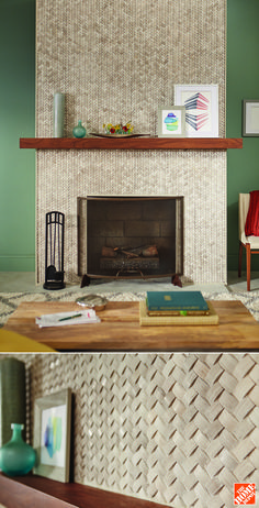 The deep relief of these natural stone tiles is quite unusual and adds drama to this living room fireplace. The herringbone pattern would also look terrific in a backsplash or an accent wall in a stylish bathroom.