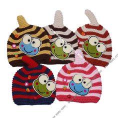 Cartoon Frog Baby Toddler Stripe Knit Wool Caps Crochet Warm Beanie Wrap Hat