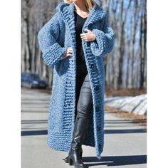 Warm hooded thick coat, boho fashion ideas, hippie fashion for winter Hooded Cardigan, Long Cardigan, Sweater Cardigan, Hooded Cloak, Plus Size Pullover, Gilet Long, Long Overcoat, Bolero, Plus Size Sweaters