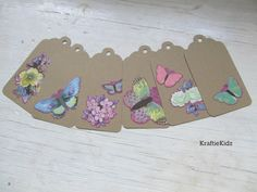 Set of 6 Butterfly Gift Tags by KraftieKidz on Etsy, $3.75