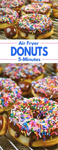 5 Minute Air Fryer Donuts – A simple recipe for a favorite treat that can be made in just 5 minutes. 5 Minute Air Fryer Donuts – A simple recipe for a favorite treat that can be made in just 5 minutes. Air Fryer Recipes Potatoes, Air Fryer Dinner Recipes, Air Fryer Oven Recipes, Air Fryer Recipes Donuts, Recipes Dinner, Dinner Ideas, Air Fryer Doughnut Recipe, Donut Recipes, Dessert Recipes