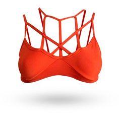 Orange Bra via Polyvore featuring activewear, sports bras, yoga sports bra, yoga activewear, red sports bra and orange sports bra
