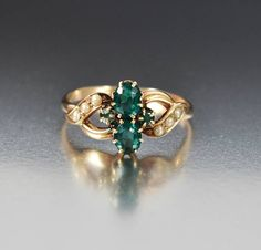 Antique Gold Pearl Emerald Ring Victorian Engagement Ring