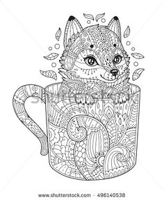 Volwassen Kleurplaat Kat Zen Art Panda Animal Portrait In Zentangle Style For The