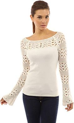 Looking for PattyBoutik Women's Boat Neck Crochet Inset Sweater ? Check out our picks for the PattyBoutik Women's Boat Neck Crochet Inset Sweater from the popular stores - all in one. PattyBoutik Women's Boat Neck Crochet Inset Sweater (Off-White S): Patt Pull Crochet, Crochet Lace, Winter Outfits Women, Crochet Fashion, Mode Outfits, Crochet Clothes, Boat Neck, Knitwear, Knitting Patterns