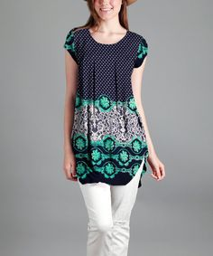 Blue & Green Floral Round-Hem Tunic - Plus Too | zulily