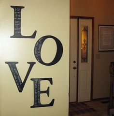 Darling letters painted with chalkboard paint for love notes to your husband or kids. Cute idea for Valentine's Day!