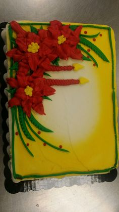Christmas Candles Poinsettia Sheet Cake Buttercream By Sarah Stump