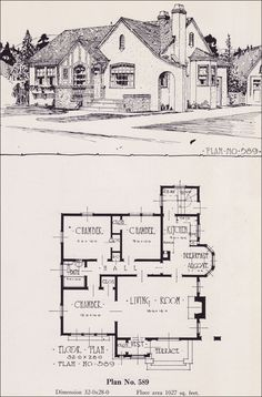 Plan no r 856 c 1918 cottage house plan by a e for Historic tudor house plans