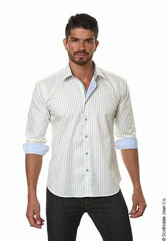 Jared Lang - Button Down Shirt with Contrast Cuff and Collar New Mens Fashion, Holiday Fashion, Spring Fashion, Ag Jeans, Alternative Outfits, Hudson Jeans, Winter Outfits, Knitwear, Cool Style