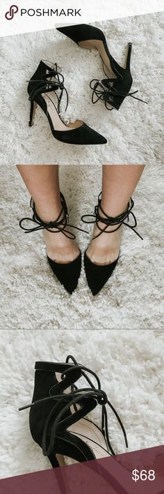 LACE UP HEELS // JESSICA SIMPSON lace up 4 inch heels. suede like fabric. NEVER WORN. Jessica Simpson Shoes Heels