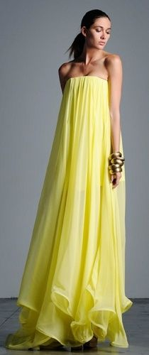Adorable beautiful strapless yellowish maxi dress for ladies... for more fashions click on pic