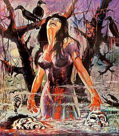 The Swamp of the Raven Halloween Horror, Halloween Art, Dark Fantasy Art, Dark Art, Vintage Comics, Vintage Art, Illustrations, Illustration Art, Horror Pictures