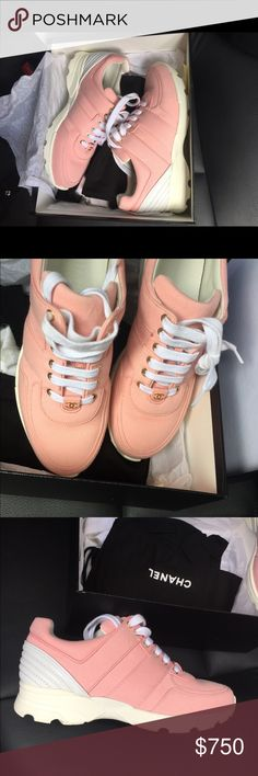 Chanel Sneakers pink size 38 Authentic pink Chanel trainer sneakers.  Rare pink color sold out everywhere.  Never worn. Brand new in box CHANEL Shoes Sneakers