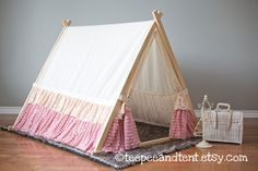 Kids Ruffle Teepee Play Tent  IN STOCK by TeepeeandTent on Etsy, $225.00
