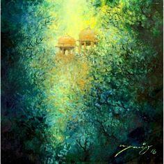 A. Q. Arif, 14 x 14 Inch, Oil on Canvas, Cityscape Painting, AC-AQ-074