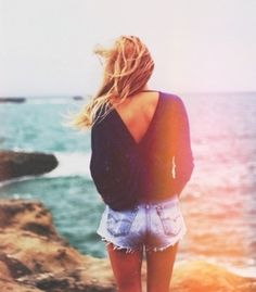 beach style with sexy back sweater and cut offs. I ... | Piles of S...