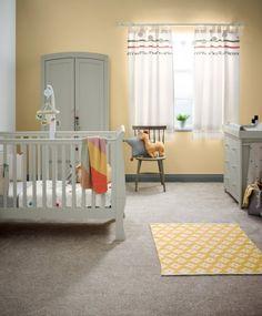 Mia 3 Piece Nursery Set with Sleigh Cot, Dresser & Wardrobe - Pebble Grey