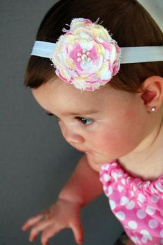 Frayed Fabric Flower Clip by RyleighsMomma on Etsy, $6.50