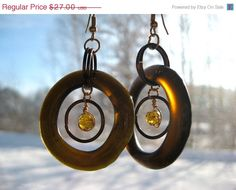 Anniversary Sale Eco Friendly Repurposed Beer Bottle Glass Earrings Brown Recycled  Upcycled  128201301. $22.41, via Etsy.