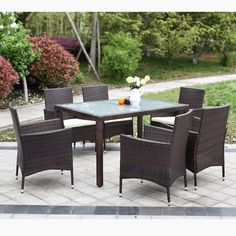 The raddest new product now available in our store Rattan Outdoor Pa..., http://yardwells.myshopify.com/products/rattan-outdoor-patio-dinning-table-set-cushioned-garden-patio-furniture-set-light-brown-coffee-cushion-7pcs?utm_campaign=social_autopilot&utm_source=pin&utm_medium=pin