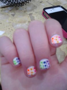 I tried to do what I repinned but it didn't work as well but It still worked! Rainbow poka dot nails!