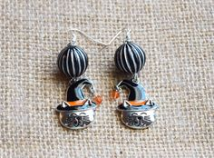 Halloween Cat Earringswitch cat by AllMyAdornments on Etsy