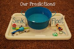 Approaches to Learning: Making Predictions - sink or float activity Carries out tasks, activities,projects or experiences from beginning to end. The child will continue working on the task until they find out if all the objects sink or float. Kindergarten Science, Preschool Curriculum, Science Classroom, Teaching Science, Science Activities, Science Projects, School Projects, Preschool Activities, Speech Activities