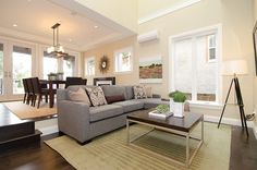 contemporary living room. gray and tan color scheme.