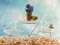 Miniature White Bistro Furniture in the fairy garden.