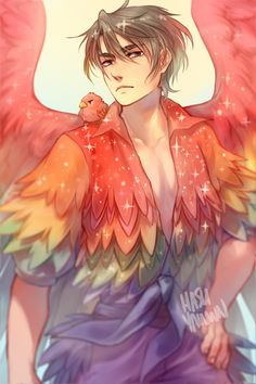 i love seung gil and i love his rainbow costume i ONLY WISH IT HAD MORE SPARKLES. +birb