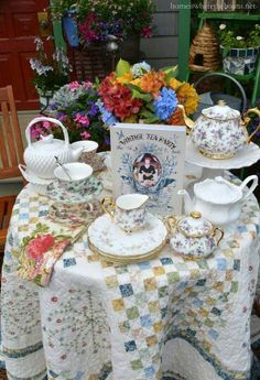 Tea Party. Quilted table cloth.