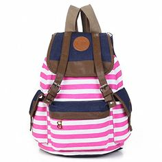 Autofor 2013 New Arrival Unisex Fashionable Canvas Backpack School Bag Super Cute Stripe School College Laptop Bag for Teens Girls Boys Students - Hot Pink Stripe Brand New Size(approx. Cute Backpacks, Girl Backpacks, School Backpacks, Leather Backpacks, Bags For Teens, Girls Bags, Canvas Backpack, Backpack Bags, Travel Backpack