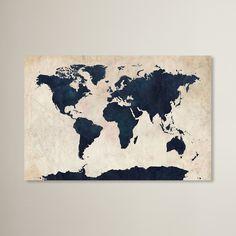 Trent Austin Design World Map - Navy by Michael Thompsett Graphic Art on Wrapped Canvas & Reviews | Wayfair