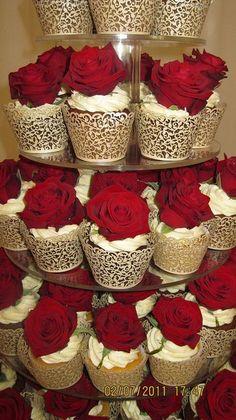 Rich Red Rose Wedding Cupcake Tower #indianwedding, #shaadibazaar:
