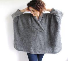 Más tamaño gris suéter tejido a mano túnica por afra en Etsy