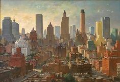 #Charles #Cundall #NewYork, circa 1950  #Oiloncanvas #modern #art #LLFA #skyline #New #York #USA