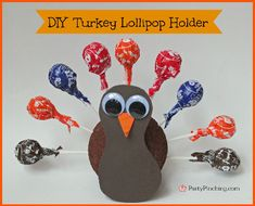 Cute and easy DIY Turkey Lollipop Holder Thanksgiving craft for kids - tutorial by PartyPinching.com
