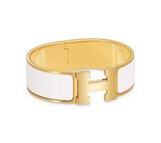 Clic-Clac H Extra-Wide bracelet in enamel with palladium plating (diameter: 7 cm)