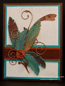 handmade card from Behind the Scenes - Straits Stamping Studio: Verdigris, Copper, Feathers and Flourish . heat embossing and die cuts . Handmade Greetings, Greeting Cards Handmade, Paper Cards, Diy Cards, Feather Cards, Up Book, Fall Cards, Card Tags, Creative Cards