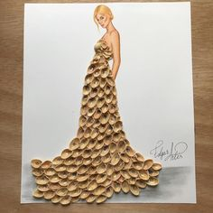 """""""Empty Feelings"""" by Edgar Artis; dress made out of pistachio shells Creative Artwork, Creative Crafts, Artwork Ideas, Pista Shell Crafts, Pistachio Shells, Fashion Illustration Dresses, Fashion Illustrations, Funny Drawings, Art Drawings"""
