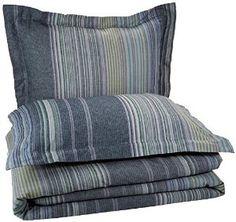 Pinzon Lightweight Cotton Flannel Duvet Set - King, Blue Stripe -   - http://homesegment.com/home-kitchen/pinzon-lightweight-cotton-flannel-duvet-set-king-blue-stripe-com/