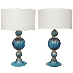 Extraordinary Pair Of Gold And Cobalt Blue Murano Glass Lamps Great Ideas