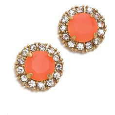 Kate Spade New York Secret Garden Stud Earrings - Flo Coral/Clear ($41) ❤ liked on Polyvore featuring jewelry, earrings, accessories, kate spade, pave jewelry, kate spade jewelry, stud earring set and clear earrings