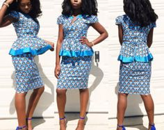 Africain Print dress de peplum africain vetements par Veroexshop