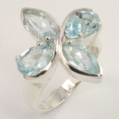 Natural BLUE TOPAZ Gemstone 925 Sterling Silver Unique Collection Ring Size US 8 #Unbranded