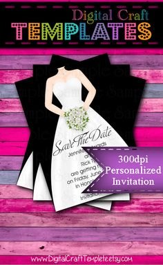 Personalized Printable Invitations   Wedding Gown 3   Save the Date   Wedding    #15