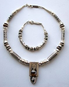 Inset fossil window necklace & dalmatian bracelet